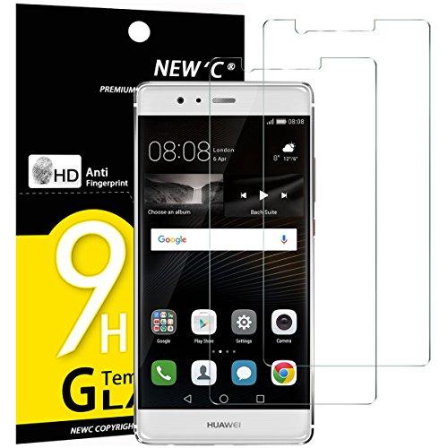 NEW'C 2 Stück, Schutzfolie Panzerglas für Huawei P9 Plus, Frei von Kratzern, 9H Härte, HD Displayschutzfolie, 0.33mm Ultra-klar, Ultrabeständig