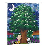 Snoopy Duschvorhang, Stoff, Duschvorhang, wasserdicht, lang, mit 12 rostfreien Haken, für Badewanne & Duschkabine, 152,4 x 182,9 cm