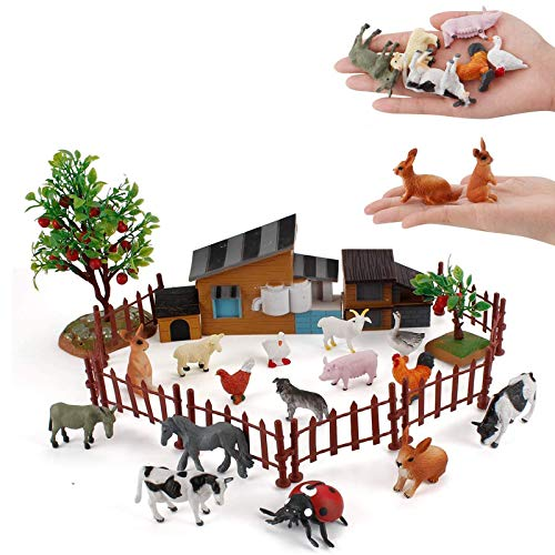 15 PCS Farm Animal Model Action Figures Horse Cow Sheep Goat Rabbit Poultry House Figurines Cake Topper Decoration Toys Set Collection for Kid Boys Girls 5 6 7 8 Years Old
