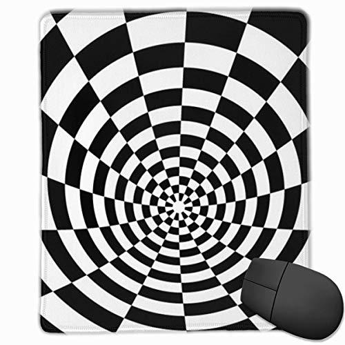 Cuadrados en Blanco y Negro Rectángulo Antideslizante Goma Mousepad Accesorios para computadora 18 x 22 CM