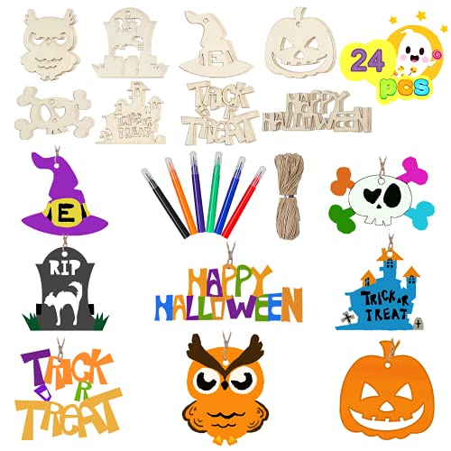 SULOLI Halloween Crafts for Kids,24 Pieces Halloween Wooden Ornaments...