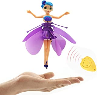 Amazingbuy Magic and Best Gift for 6 Year Old Girl Toy -RC Kids Flying Fairy LED Doll Infrared Induction and Remote Control Helicopter Toys Birthday … (Purple)