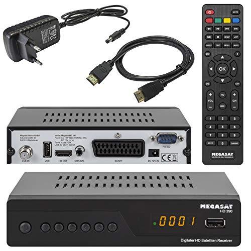 netshop 25 Megasat HD 390 HD SAT Receiver (HDTV, DVB-S2, HDMI, 1080p, SCART, USB Mediaplayer, Full HD, Astra vorinstalliert) inkl HDMI Kabel