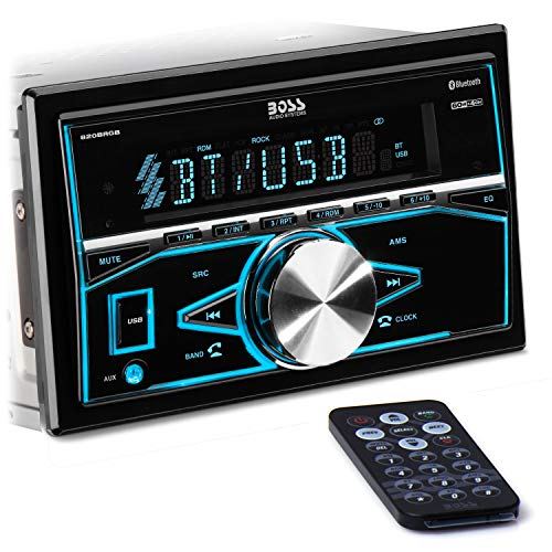 BOSS Audio Systems 820BRGB Multimedia Car Stereo - Double Din, Bluetooth Audio and Hands-Free Calling, MP3 Player, USB Port, AUX Input, AM/FM Radio Receiver, No CD/DVD, Multi Color Illumination