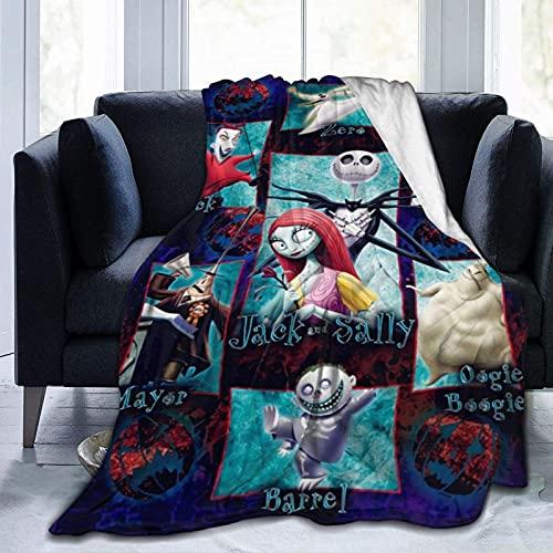 ZHENJING The Night-mare Manta antes de Chri-st-mas Manta suave acogedora manta de Halloween Manta de micro forro polar para sofá