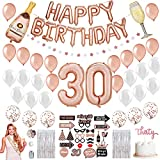 30th Birthday Decorations for Her - 34 Balloons, 25 Photoshoot Pre-assembled Props, 2 Foil Backdrops, Birthday Queen Sash, Star Garland, Confetti, Bday Banner Dirty 30 Women in Rose Gold and Silver