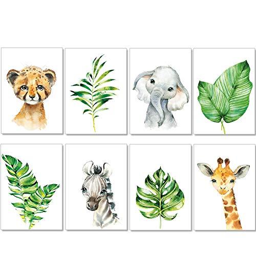 artpin® 8er Set Bilder Kinderzimmer Mint Deko Junge Mädchen - A4 Poster Babyzimmer - Safari Dschungel Wandbilder Afrika Tiere - Porträt Elefant Tiger Giraffe Zebra (P37)