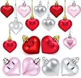 30 pcs Valentine Heart Ornaments Heart Shaped Ornaments for Birthday Party Valentine's Day Decoration,(Sliver&Pink&Red Heart Ornaments)