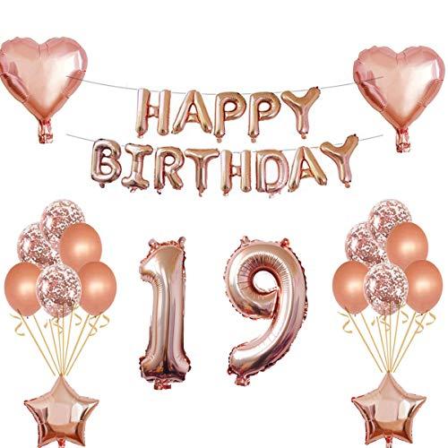 Oumezon 19 Geburtstag Mädchen Dekoration Rose Gold, 19. Geburtstag deko für Mädchen Jungen Happy Birthday Girlande Banner Folienballon Konfetti Luftballons Deko Geburtstag Party Anzahl Ballons