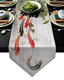 LEO BON Dining Table Runner Traditional Japanese Style with Koi Fish Lotus Flowers Folk Modern Design Table Runners for Kitchen Table Dresser, Indoor-Outdoor, Farmhouse, Rustic, Weddings,13x70inch