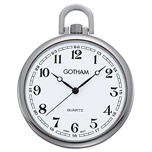 Gotham Men's Silver-Tone Slim Railroad Open Face Quartz Pocket Watch # GWC15028SA