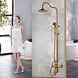 Grifos de ducha Baño Conjunto de ducha Bañera Ducha de lluvia Montado en la pared Cabezal de ducha de latón de mano