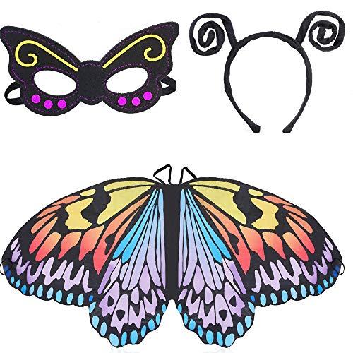 Beelittle Traje de alas de mariposa Juego de disfraces de 3 piezas Conjunto de alas de mariposa Mantón de cabo con diadema de antena y máscara para niñas niños (Arco iris)