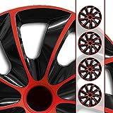 Eight Tec Handelsagentur (Farbe & Größe wählbar) 15 Zoll Radkappen, Radzierblenden Quad Bicolor (Schwarz/Rot) passend für Fast alle Fahrzeugtypen (universal)