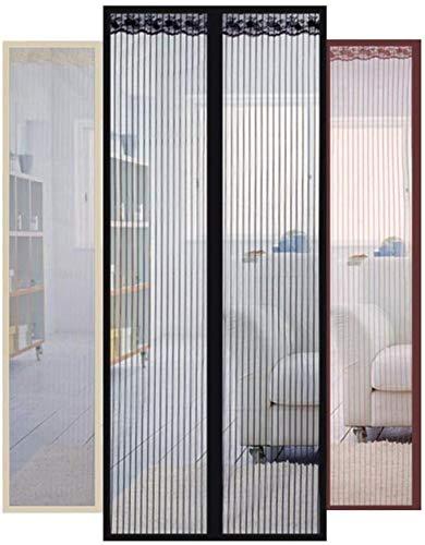 giyiohok Mosquitera para puertas con mosquitera y cortina sin perforación, color beige, 95 x 205 cm, 95 x 220 cm, color marrón