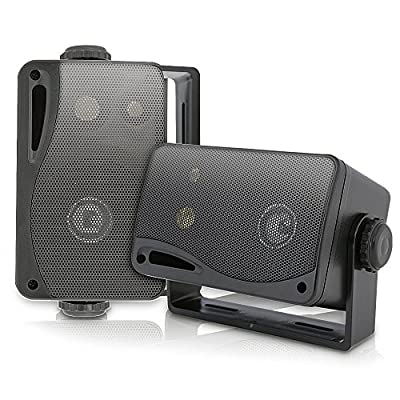 Weatherproof Outdoor Speakers (2 pcs) - 3.5Inch 3-way Marine Outdoor Box Speakers - Black All-Weather Mini Box Speakers- 200W Speakers with Mounting Kit Wires Included from Pyle
