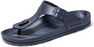 SHENTIANWEI Summer Flip Flops for Men Casual Slipper Beach Shoes Buckle Thong Sandals Plastic Slip On Flat Heel Wear Resistant Breathable Lightweight