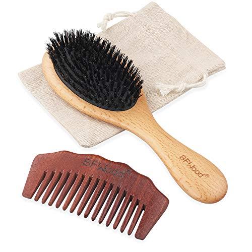 BFWood Boar Bristle Hair Brush - Pure Soft Hair Brush for Fine Thin Hair