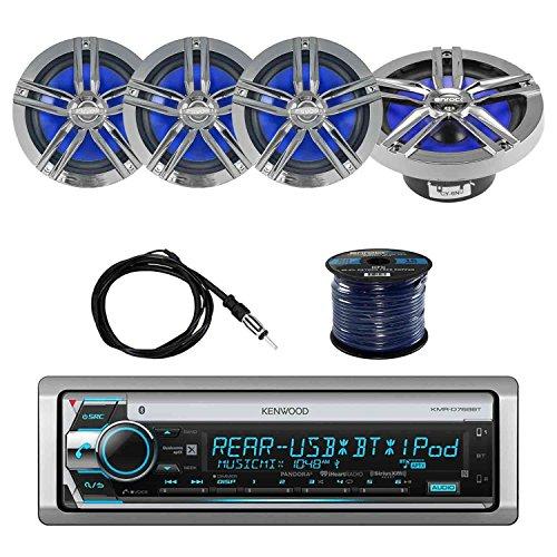 EnrockMarine EMRGB265W 2 Way Marine Set of 2 200-watt White 200W Loudspeaker Featuring Multi Color Illumination Options and Remote Control 6.5