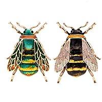 Katigan ファッション ナチュラル 昆虫動物 エナメルブローチ 蜂 合金ピンヴィンテージジュエリー 女性用、ハチ