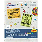 Avery Astrobrights Postcards, 4.25' x 5.5', Assorted Colors, 65 lbs / 176 GSM, Laser/Inkjet, 100 Cards (35704)