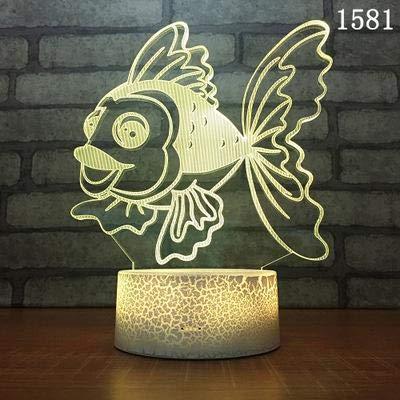 Kreative Karikatur niedlich schöne Meerestier Tischlampe 3D LED Nachtlicht Kinder Geschenk Schlafzimmer Home Decoration Goldfisch