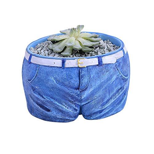 Tritow Nouveau Jeans En forme de pot de fleur charnu Créative Résine Artisanat Mini-En pot Maison Photographie Décoration de mariage Protection de l'environnement Pot en pot
