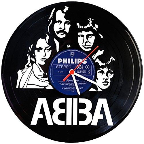 GRAVURZEILE ABBA - Reloj de pared de vinilo con diseño retro fabricado...
