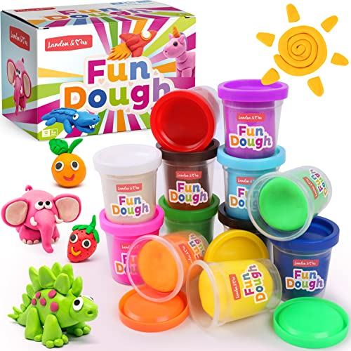 Landon & Max Fun Play Dough 12 Colors – 2 oz Packs Modeling Compound with Fruit Smell, Reusable, Long Lasting, Non-Toxic, Ages 3+