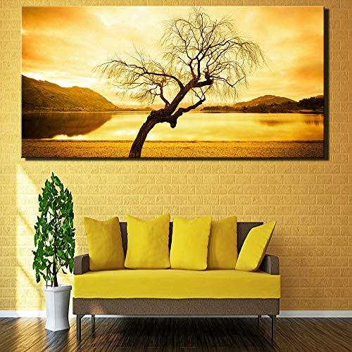 sanzangtang Sonnenuntergang Landschaft Digitale große Leinwand Malerei realistischen Stil Hauptdekoration Bild für Schlafzimmer Wand rahmenlose Malerei 50cmX100cm