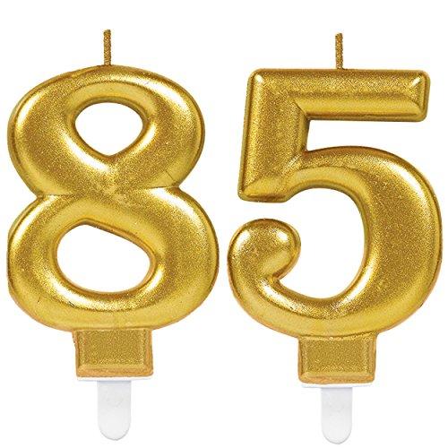Carpeta 2X Zahlenkerzen * Zahl 85 * in Gold | 11cm x 9cm groß | Deko Goldene Hochzeit Jubiläum Geburtstagskerze Kerze Geburtstag