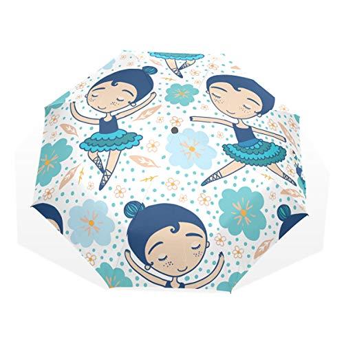 Sombrilla para niños Bailarina Beuty Colorful Dress 3 Paraguas de Arte Plegables (impresión Exterior Wind Rain Umbrella Umbrella Raining Men Childs Sun Umbrella