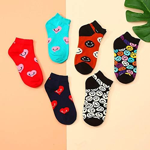 10 Pares Summer Short Sport Socks Sweat-Absorbent Breathable Smile Heart Cartoon Men Women Sock