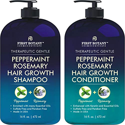 Peppermint Rosemary Hair Regrowth and Anti Hair Loss Shampoo and Conditioner Set - Daily Hydrating, Detoxifying, Volumizing Shampoo and Fights Dandruff For Men and Women 16 fl oz x 2