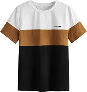 SOLY HUX Boy's Color Block Letter Print Short Sleeve T Shirt Summer Tee Top