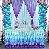 HBBMAGIC coloré Jupe de Table en Tulle pour Rectangle ou Table Ronde,décoration de Table en Tulle Arc en Ciel à la Main pour la fête,Mariage,Anniversaire,Carnaval,décorations de Chambre de Licorne