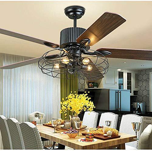 Ventilador de techo de 52 pulgadas retráctil con luz, 5 bombillas E27, 2 en 1, lámpara de techo, ventilador de cinco aspas, estilo industrial, luz de ventilador + mando a distancia