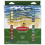 Derwent Academy Watercolour Paints, 12 ml Tubes, 24 Assorted Colours (98222)