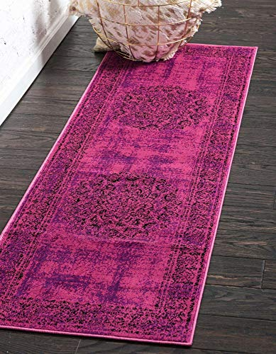 Unique Loom Imperial Collection Modern Traditional Vintage Distressed Fuchsia Runner Rug (3' 0 x 9' 10)
