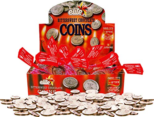 Elite Hanukkah Chocolate Coins - Box 24 Sacks, Flavor: Bittersweet 12.7oz