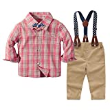 Traje Informal de otoño para bebés pequeños, Camisetas a Cuadros para niños, Pajarita, Tirantes...