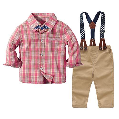 Conjuntos de Trajes para bebés recién Nacidos Camisa a Cuadros Rosa para bebés Varones + Pajarita + Tirantes + Pantalones Caqui Traje de Fiesta para niños de 4 Piezas (Rosa , 6-9 Meses)