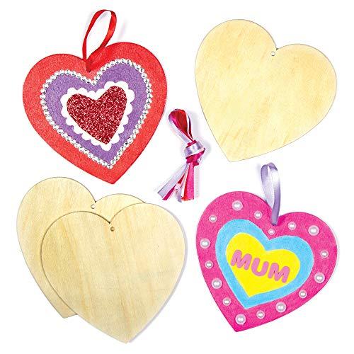 Baker Ross AF905 Holzanhänger mit Herzmotiven für Kinder zum Ausmalen und Dekorieren zum Valentinstag oder Muttertag (8 Stück), Bunt