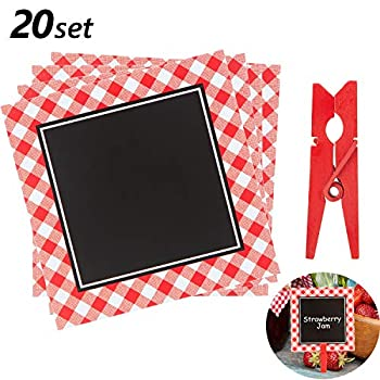 Picnic Party Chalkboard Cards BBQ Theme Mini Blackboard Red Gingham Chalkboard with Wooden Clips for Baby Shower Wedding Picnic Birthday Party Decoration 3 Inch  20 Pieces