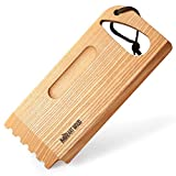 """Mr.Art Wood BBQ and Grill Wooden Scraper Tool, Size 10.6"""" x 4.7"""" – Made in Europe, Barbeque Cleaner with Grooved and Flat Edge – 100% Natural One-Piece Ash Wood"""