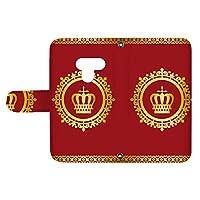 スマQ LG K50 802LG 国内生産 カード スマホケース 手帳型 LG エルジー エルジー ケーフィフティー 【B.レッド】 王冠とレース シンプル ami_vd-0248