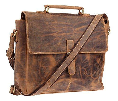 Greenburry Vintage Messenger Bag Pochette cuir 40 cm compartiment Laptop