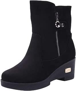 LONGDAY ⭐ Women's Block Heels Winter Boots Slouchy Knee Suede Slouch Boot Buckles Booties Comfy Side Zipper Warm Shoes