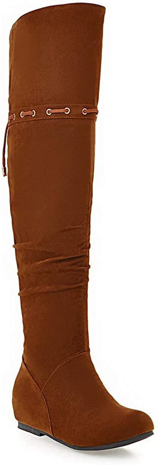 AN Womens Heighten Inside Zipper Imitated Suede Boots DKU02347