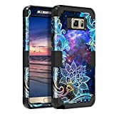 Casetego Compatible Galaxy Note 5 Case,Floral Three Layer Heavy Duty Hybrid Sturdy Armor Shockproof Full Body Protective Cover Case for Samsung Galaxy Note 5,Mandala